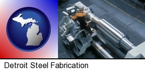 steel fabrication on an automated lathe in Detroit, MI