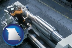 missouri map icon and steel fabrication on an automated lathe