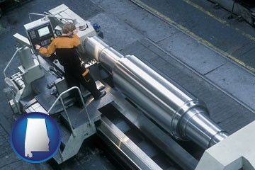 steel fabrication on an automated lathe - with Alabama icon