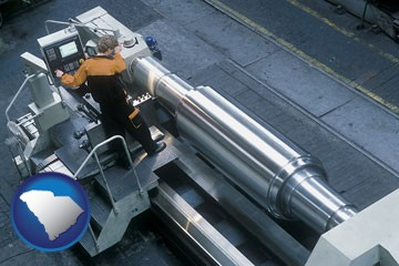 steel fabrication on an automated lathe - with South Carolina icon