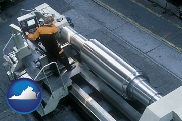 steel fabrication on an automated lathe - with Virginia icon